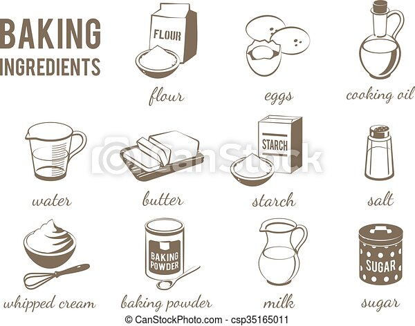 Set of monochrome, lineart food icons: baking ingredients - flour, eggs,  oil, water, butter, starch, salt, whipped cream, baking powder, milk,  sugar