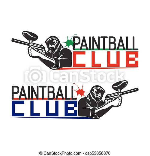 set of monochrome paintball logos emblems and icons indoor rh canstockphoto com paintball gun logos paintball team logos