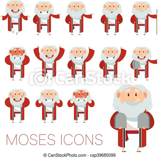 Set of Moses icons - csp39685099