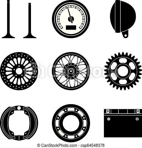 Set Of Motorcycle Parts Icons Silhouette Vector