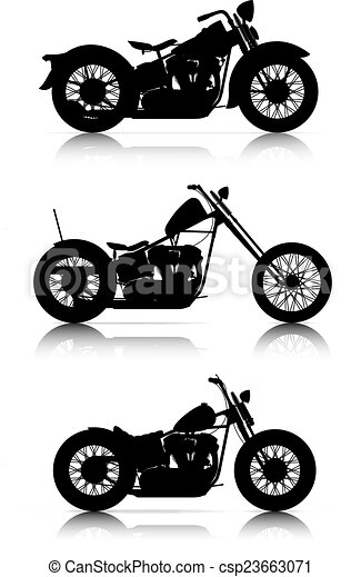 set of motorcycle silhouettes - csp23663071