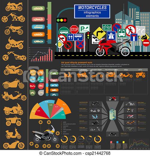 Set of motorcycles elements - csp21442768