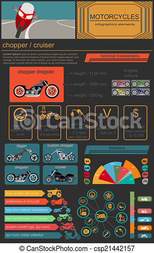 Set of motorcycles elements - csp21442157