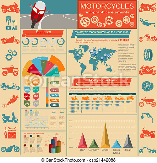 Set of motorcycles elements - csp21442088