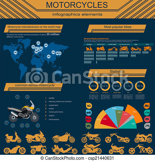 Set of motorcycles elements - csp21440631