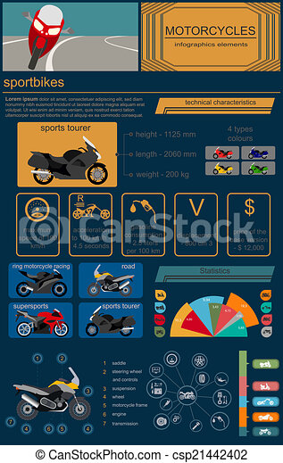 Set of motorcycles elements - csp21442402