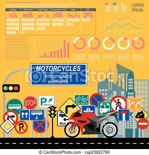 Set of motorcycles infographic - csp23922790