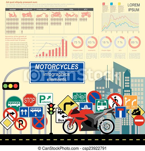 Set of motorcycles infographic - csp23922791