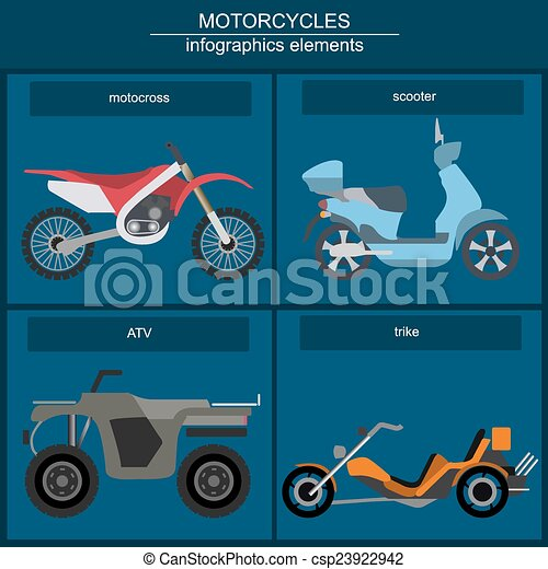 Set of motorcycles infographic - csp23922942