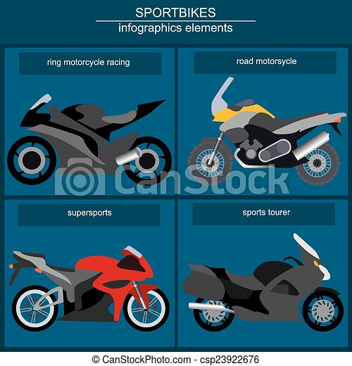 Set of motorcycles infographic - csp23922676