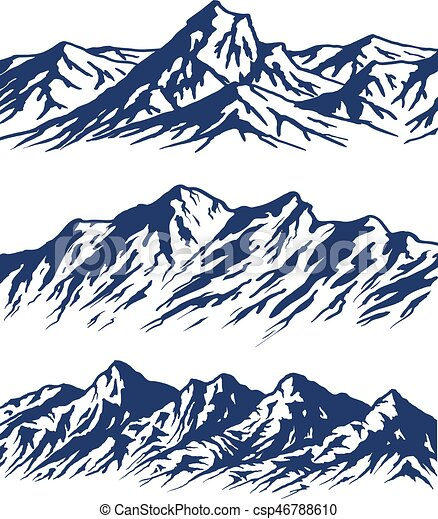 set of mountain range silhouettes isolated on white vector clip rh canstockphoto com rocky mountain range clipart Mountain Clip Art
