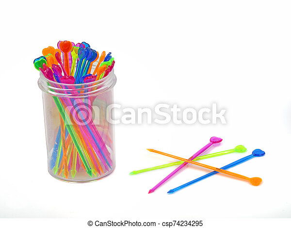 Set of multi-colored skewers isolated on white background - csp74234295