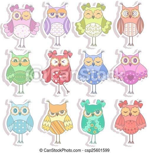 Set of multicolored, beautiful owls - csp25601599