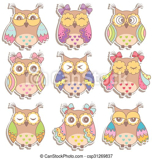 Set of multicolored, beautiful owls - csp31269837
