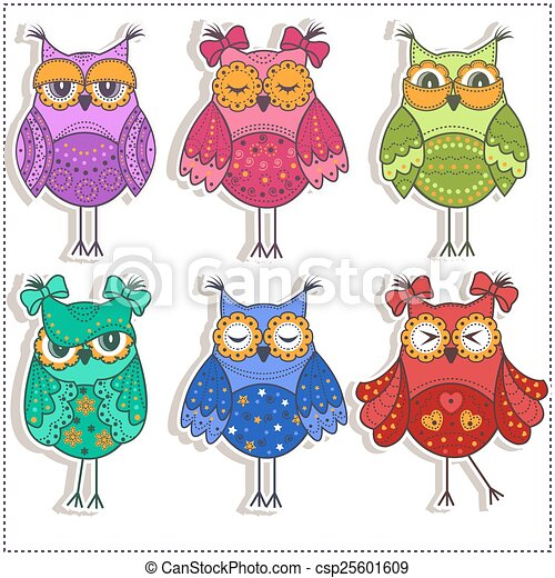 Set of multicolored, beautiful owls - csp25601609
