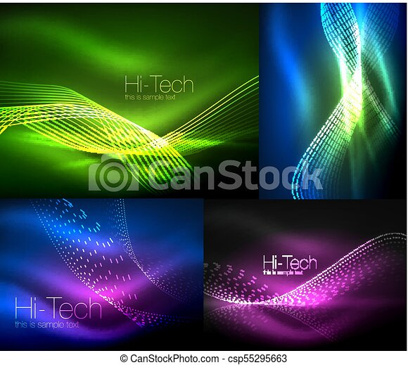 Set Of Multicolored Neon Smoke Particles Waves Vector Abstract Backgrounds Digital Flow Wave Concept With Particles In Motion Big Data Idea