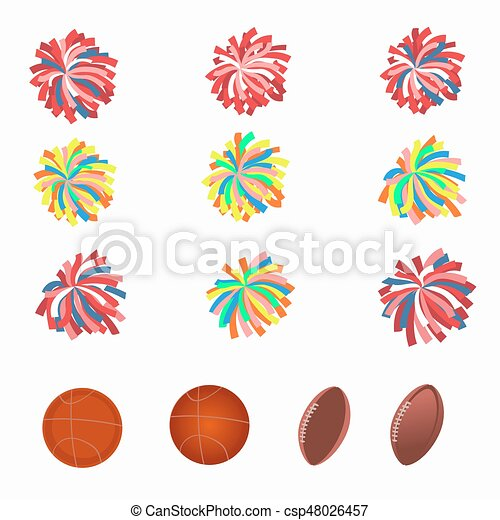 set of multicolored pom-poms. basketball and football balls. vector