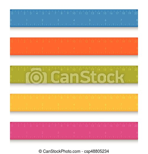 Set of multicolored school measuring rulers with centimeters and inches - csp48805234