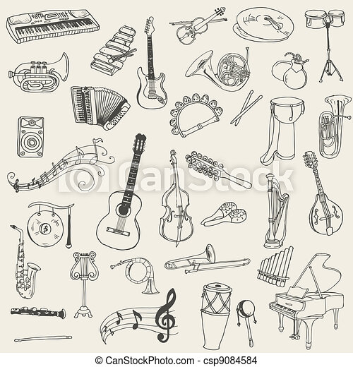 Set of Music Instruments - hand drawn in vector - csp9084584