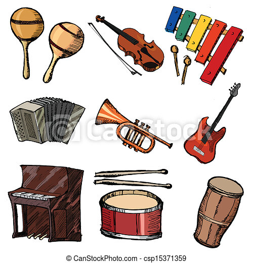 set of musical instruments set of sketch illustration of musical rh canstockphoto com musical instruments clip art pictures musical instruments clip art free
