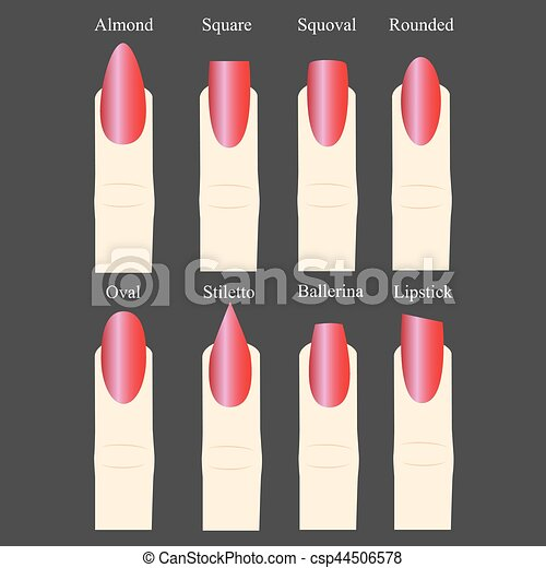Female Manicure Set Kinds Of Nails Fashion Nail Shape Icons