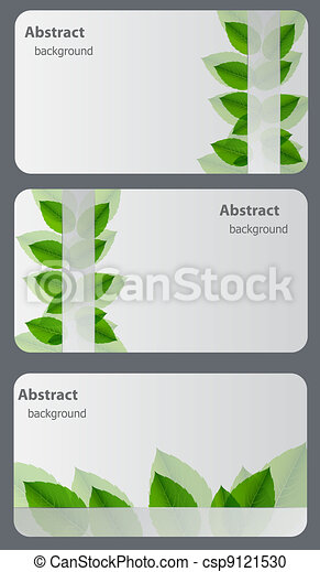 Set of nature gift cards. Vector illustration - csp9121530