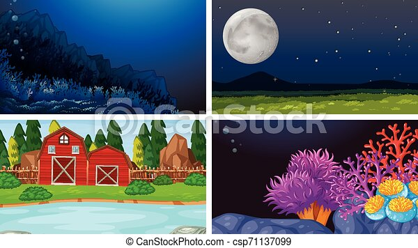 Set of nature landscape - csp71137099