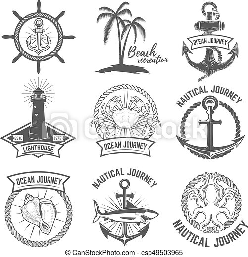 Set of nautical emblems isolated on white background. Design elements for logo, label, sign. Vector illustration. - csp49503965