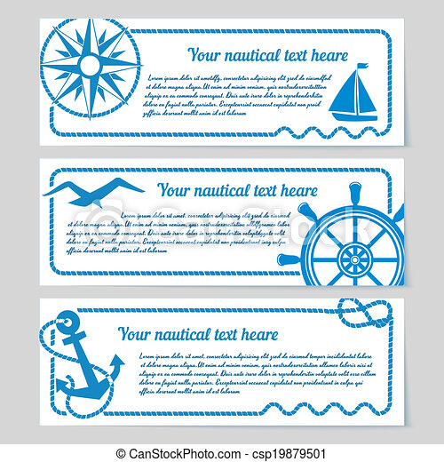 Set of nautical themed banners - csp19879501