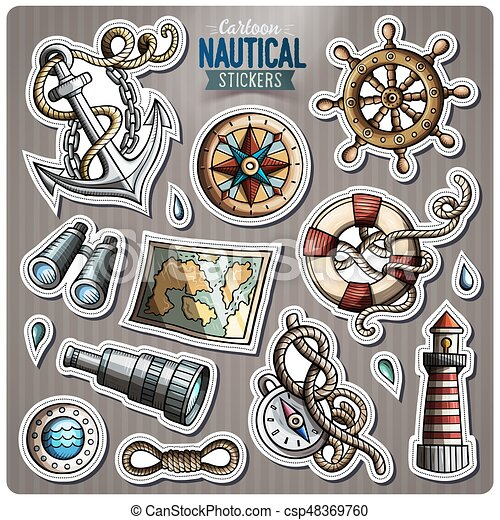 Set of Nautical vector cartoon stickers - csp48369760