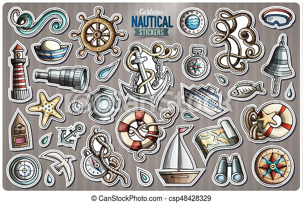 Set of Nautical vector cartoon stickers - csp48428329