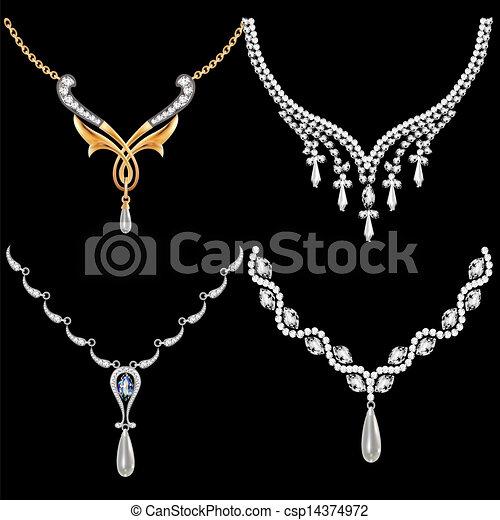 set of necklace women with precious stones - csp14374972