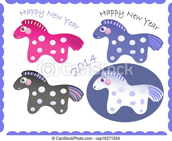 set of new year horses csp16371554