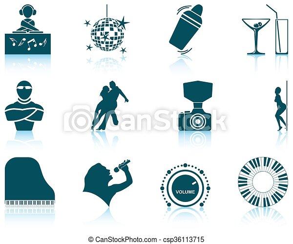 Set of Night club icons - csp36113715