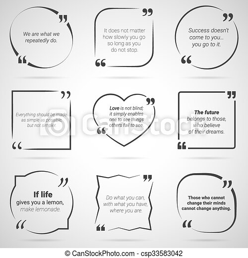 Set of nine citations in tex boxes, frames and quotes. vector. Set ...