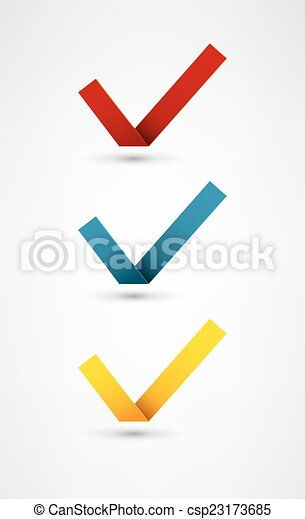 Set of nine different colorful vector check marks - csp23173685