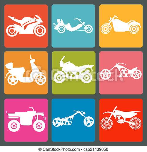 Set of nine icons of motorbikes - csp21439058
