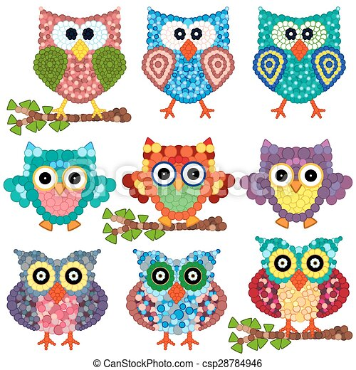 Set of nine ornamental owls - csp28784946
