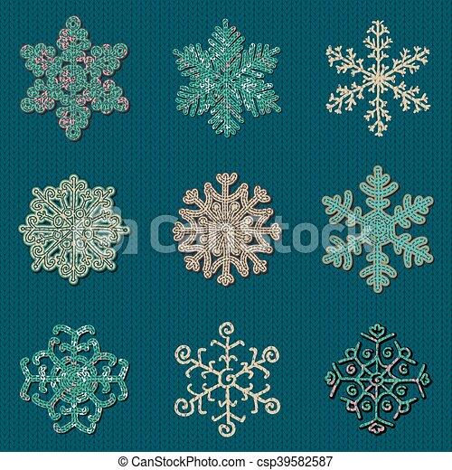 Set Of Nine Vector Cute Sewn Knitted Snowflakes Set Of Nine Cute