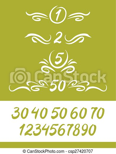 Set of numbers, written by a brush, with decor elements. - csp27420707