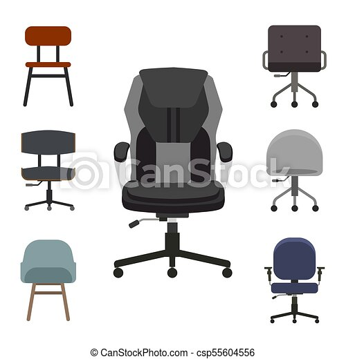 Set Of Office Chairs Flat Vector Illustration. Group Of Armchair Front  View. Concept For The Office, Boss, Manager, Vacancy. Free Seats.