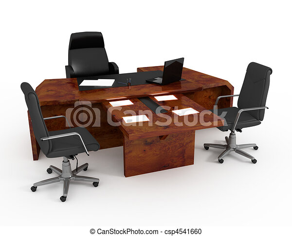 Set Of Office Furniture Stock Illustration