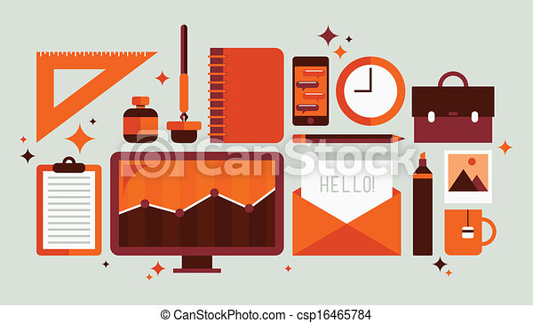 Set of office tools illustration - csp16465784