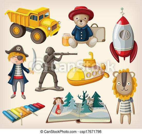 Set Of Old Fashioned Toys Stock Illustration