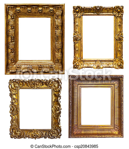 Set of old frames . Set of old gold frames. isolated over white ...