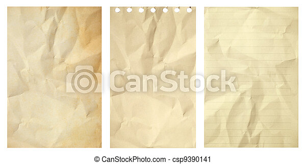 Set of old grunge crumpled paper isolated on white background - csp9390141