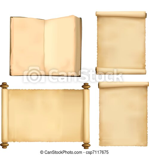 Set of old paper sheets and book - csp7117675