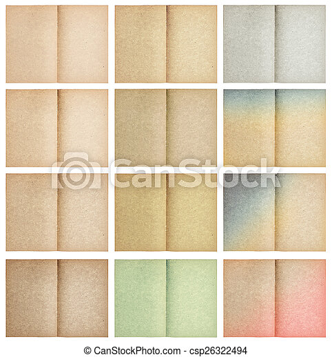 set of old paper sheets isolated on white - csp26322494