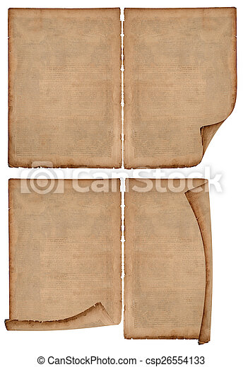 set of old paper sheets isolated on white - csp26554133