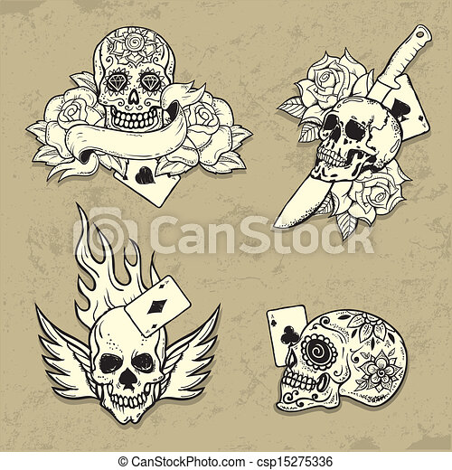 Set of Old School Tattoo Elements - csp15275336